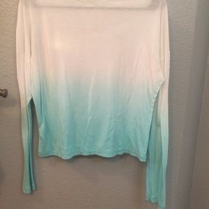 F21 Teal Ombré Long Sleeved Shirt